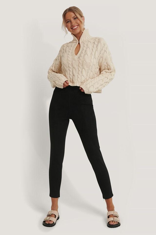Suede Slim Pants Black