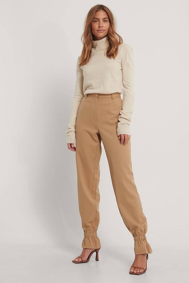 Suit Pants With Elastic Nougat