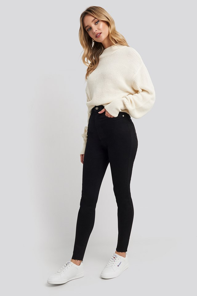 Super High Waist Skinny Jeans Black