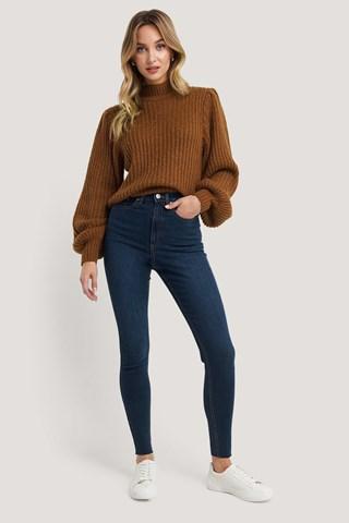 Dark Blue Super High Waist Skinny Jeans