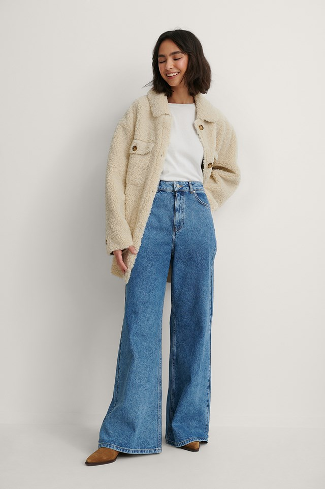 Mid Blue Recycled Super Wide Leg Jeans