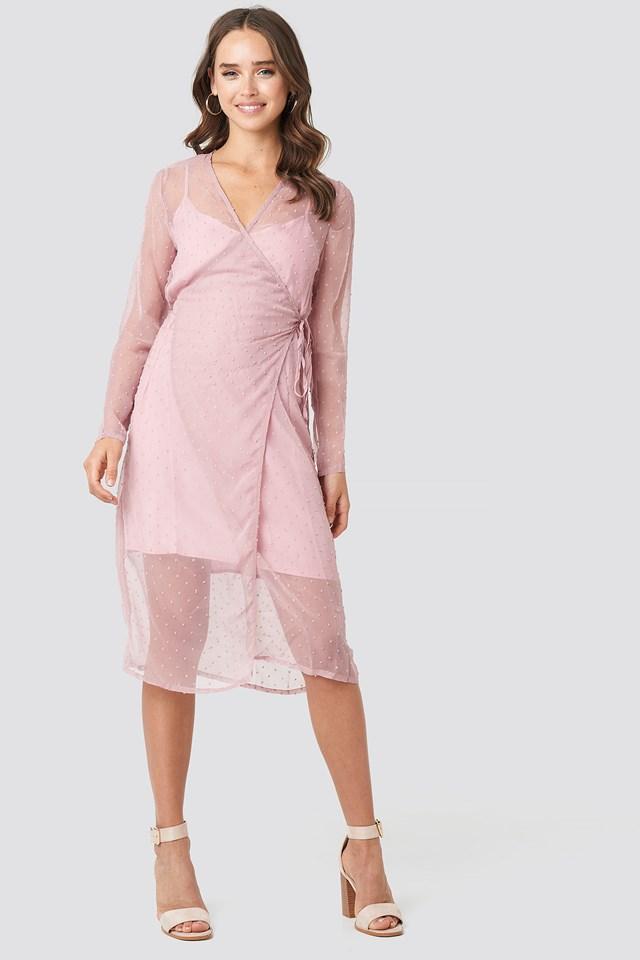 Swiss Dot Wrap Dress Dusty Pink