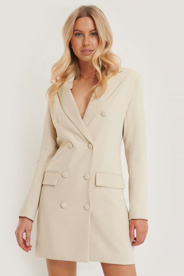 Tailored Blazer Dress Offwhite