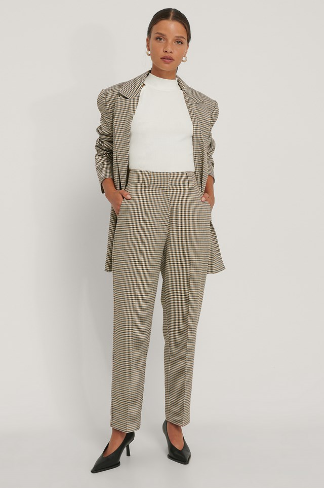 Brown Check Tailored Cropped Pants