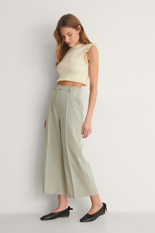 Grey Recycled Tailored Culotte Pants