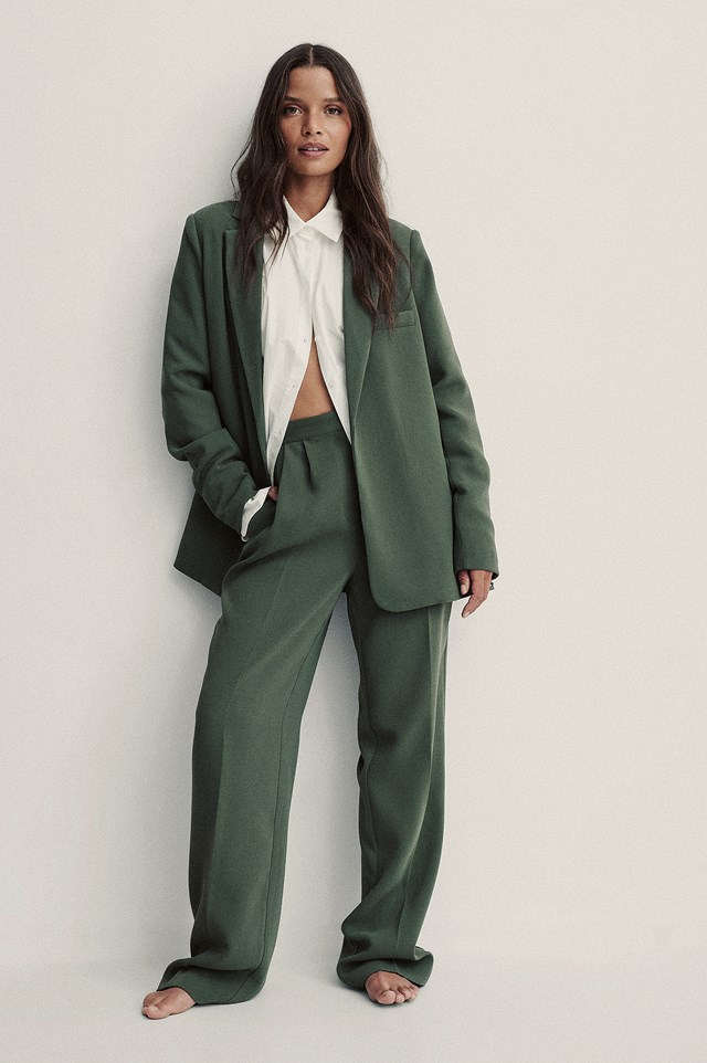 Tailored Wide Leg Trousers Taupe