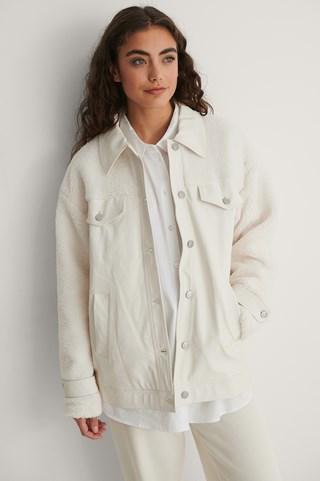 Cream Teddy Detail PU Jacket