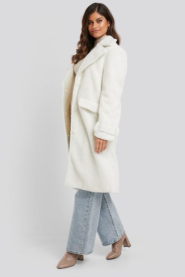 Teddy Long Coat Off White