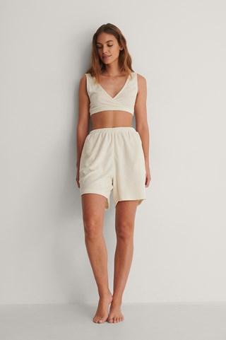Off White Organic Terry Cloth High Waist Shorts