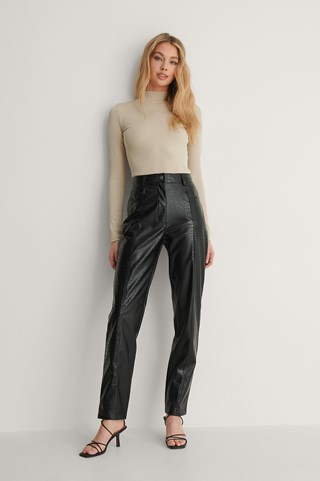 Black Textured Pu Pants