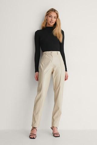 Grey Textured Pu Pants