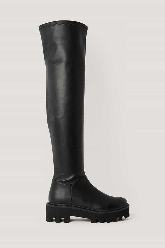 Thigh High Profile Sole Boots Black