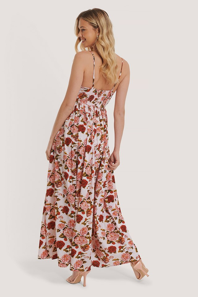 Thin Strap Flowy Maxi Dress Flower Print