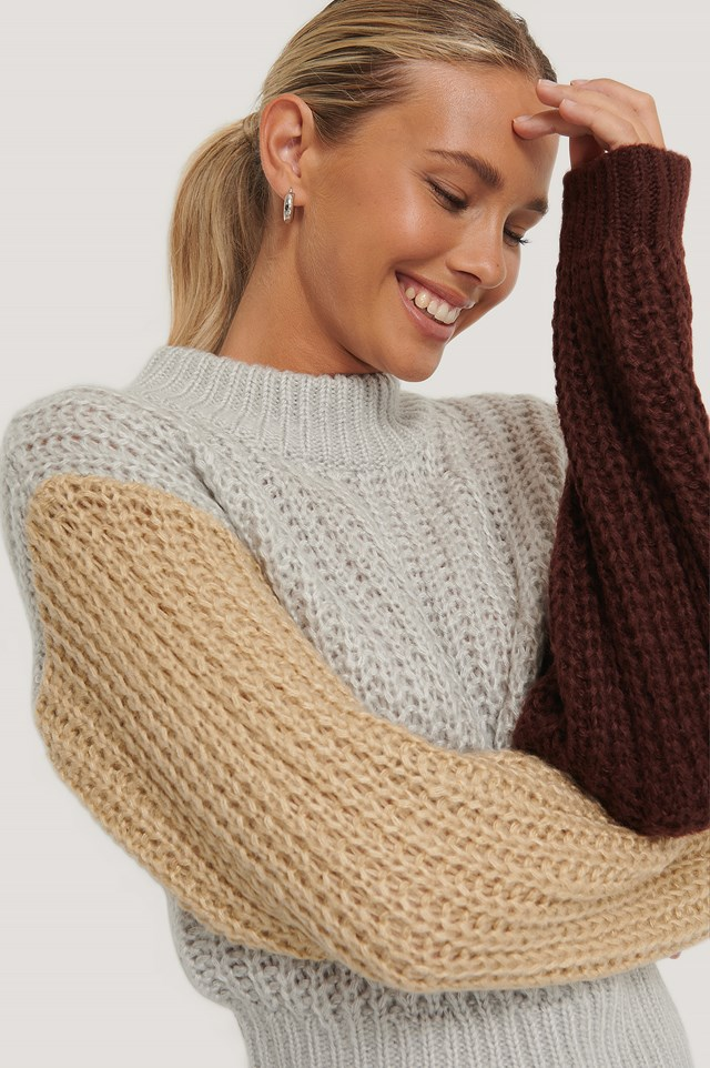 Three Color Knitted Sweater Multicolor