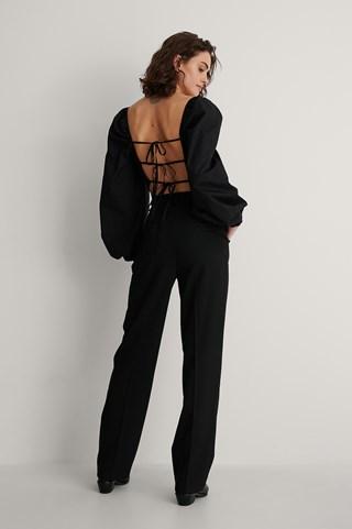 Black Tie Back Cotton Blouse