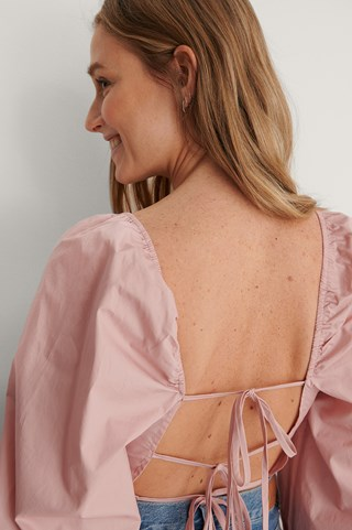 Pink Tie Back Cotton Blouse