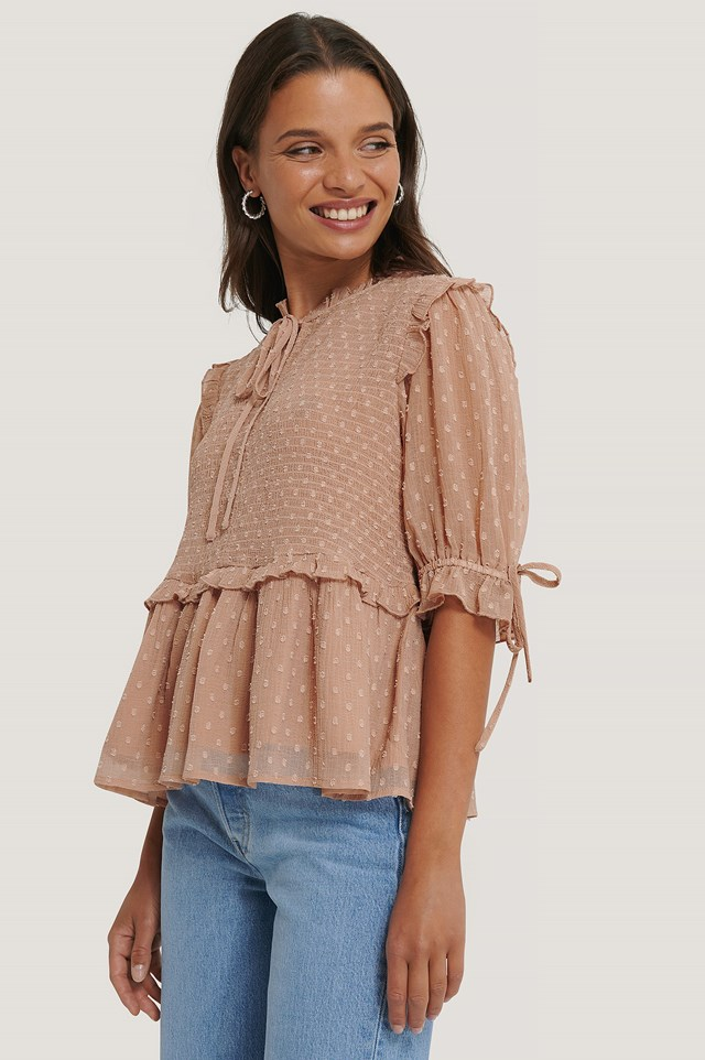 Tie Detail Smocked Dobby Blouse Dusty Pink