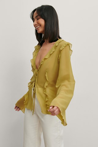 Olive Green Recycled Tie Front Blouse