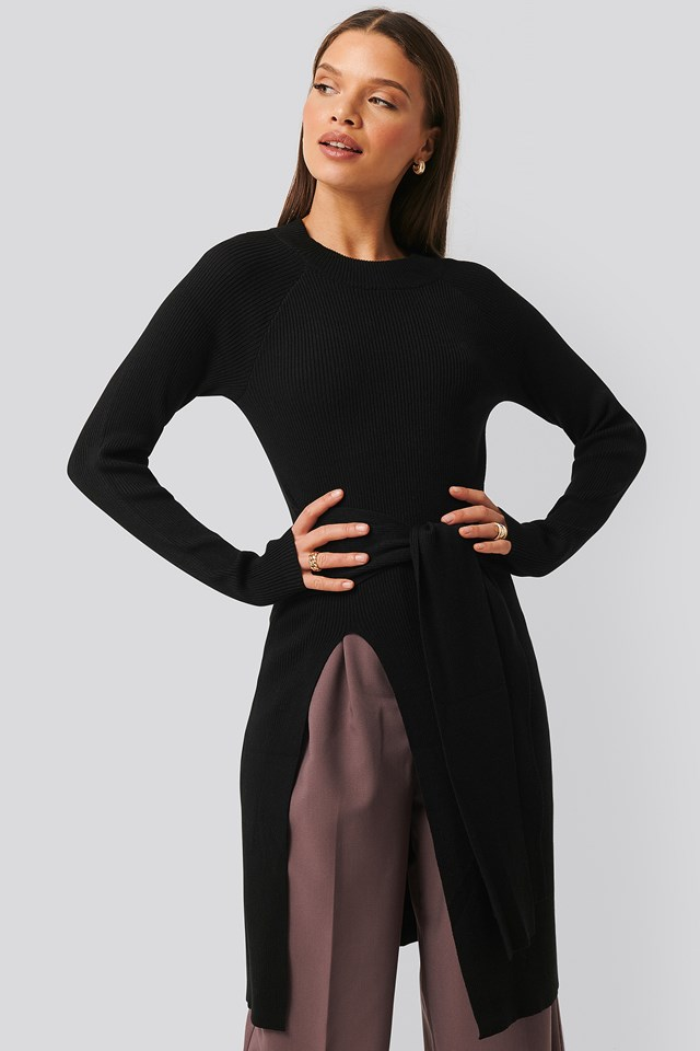 Tie Front Ribbed Sweater Black