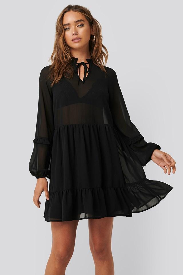 Tie Neck Flowy Mini Dress Black