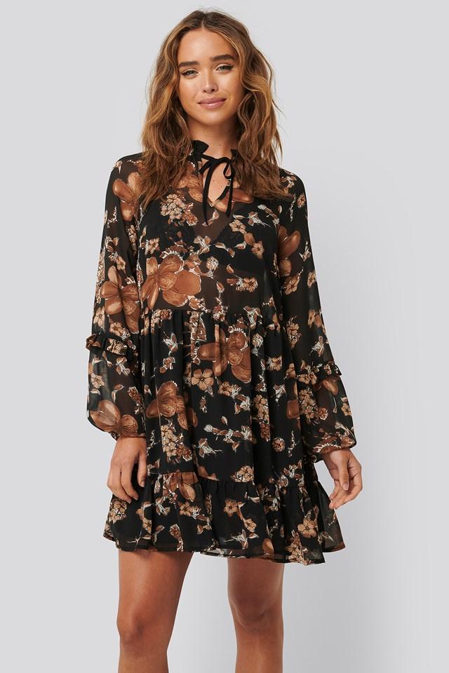 Tie Neck Flowy Mini Dress Black/Brown