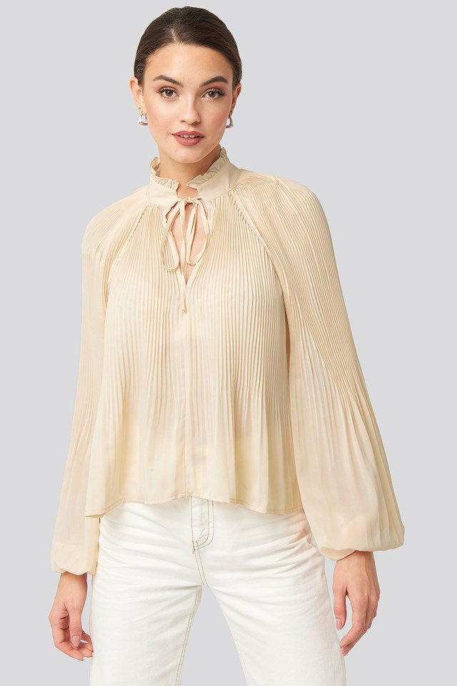 Tie Neck Pleated Blouse NA-KD Trend