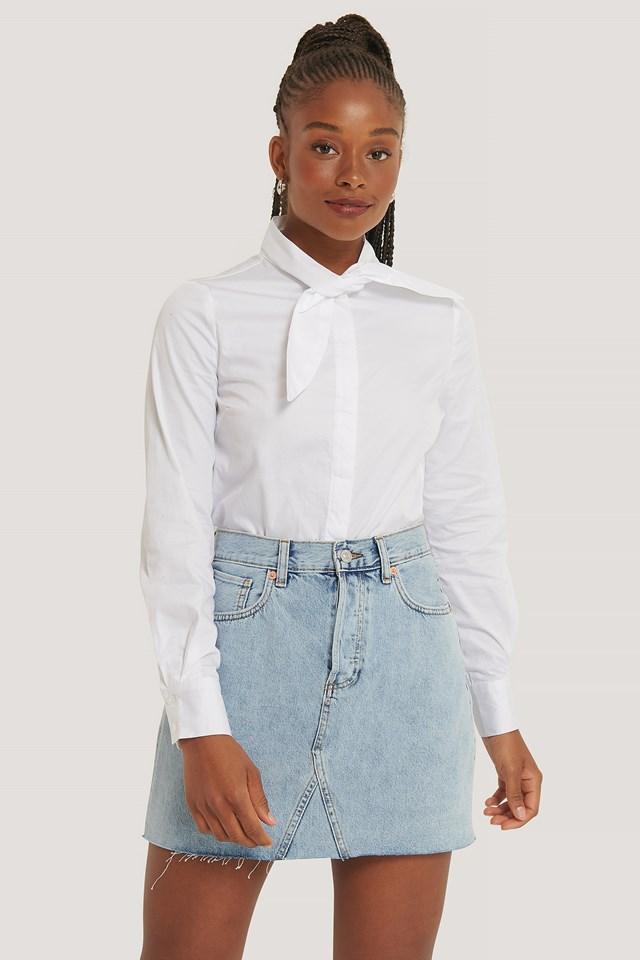 Tie neck Shirt White
