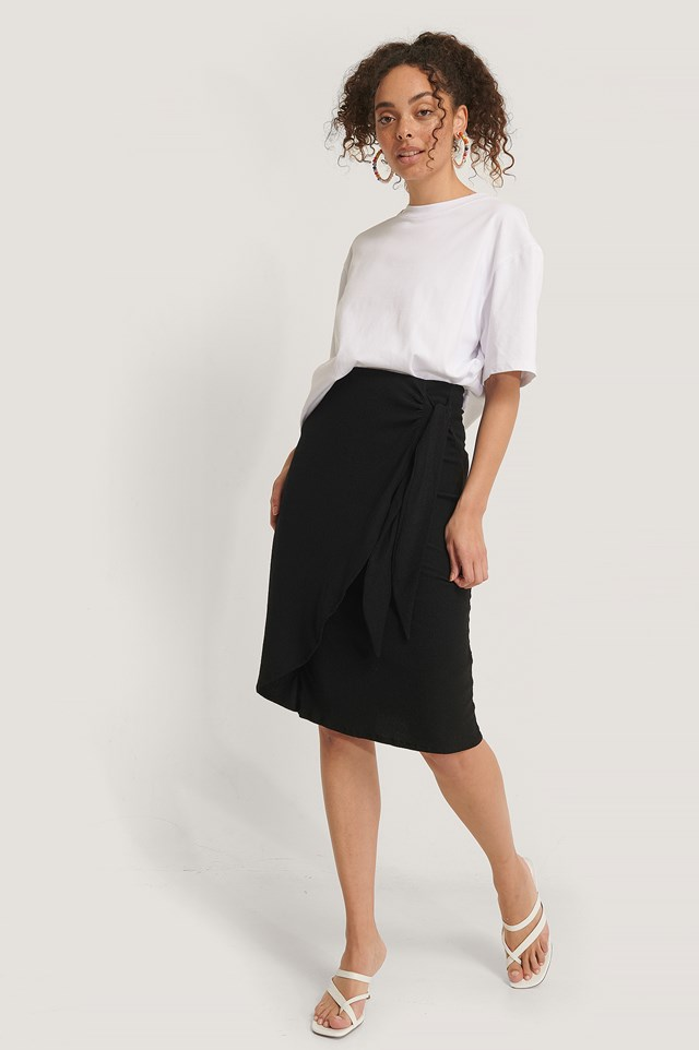Tie Side Midi Skirt Black