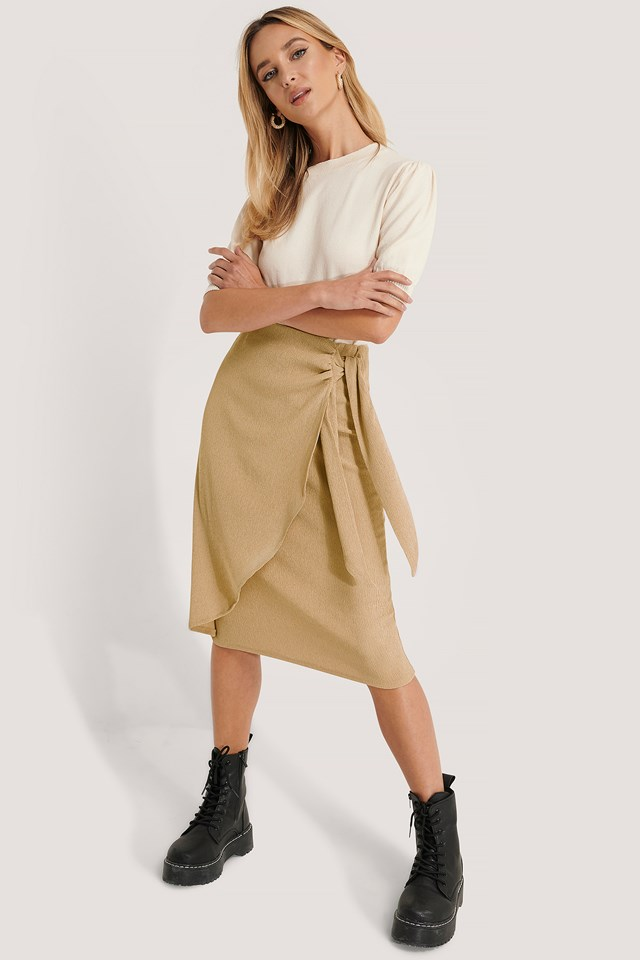 Tie Side Midi Skirt Beige