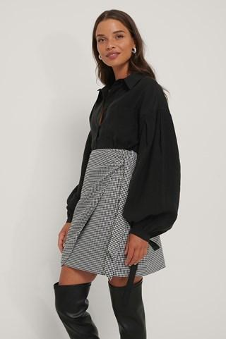Black/White Tie Side Mini Skirt