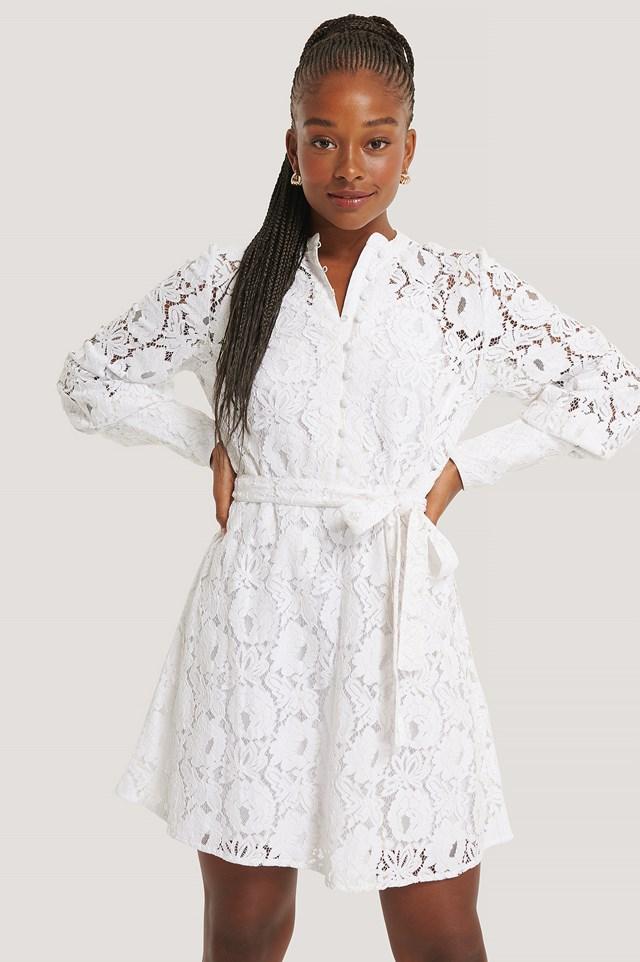 Tie Waist Lace Dress White