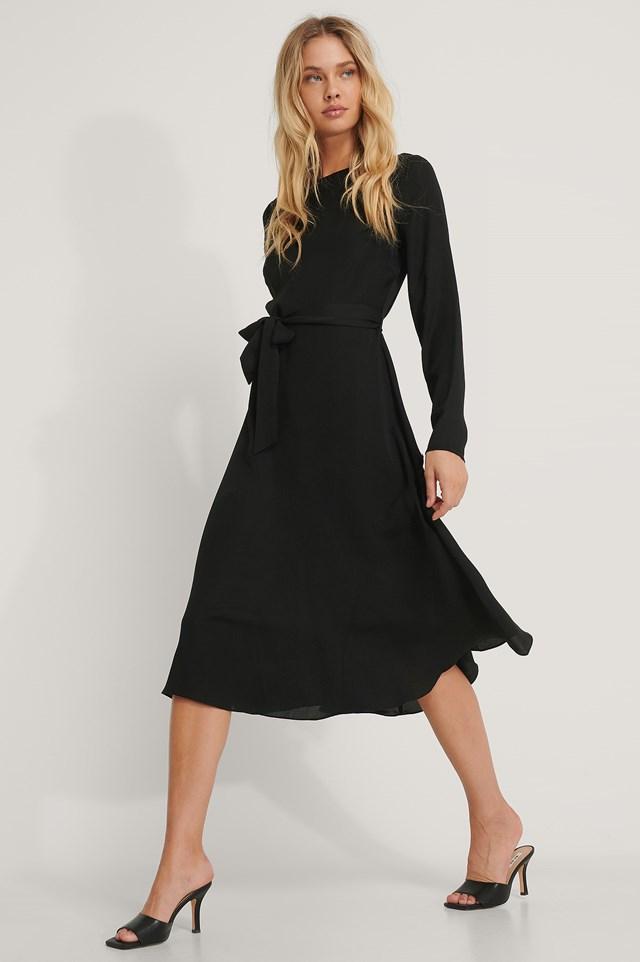 Tie Waist LS Midi Dress Black
