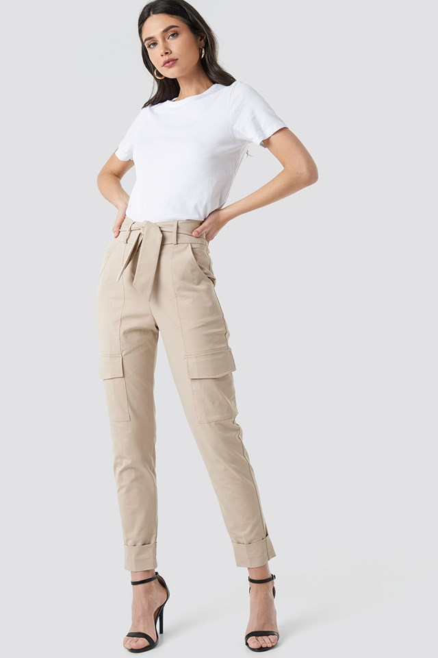 Tie Waist Patch Pocket Pants NA-KD Trend