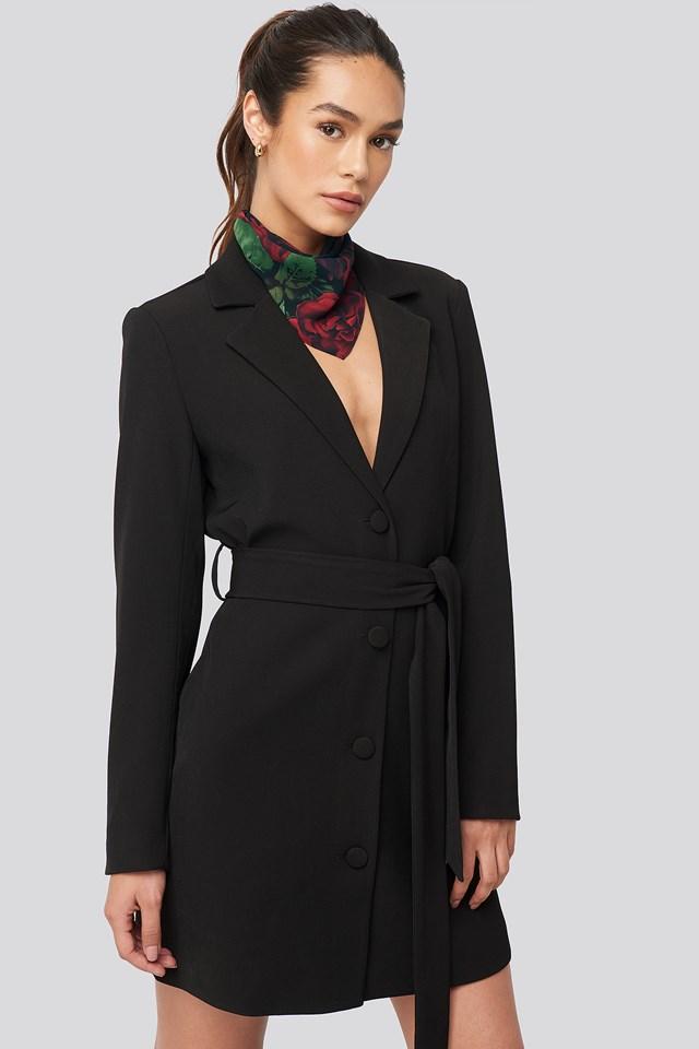 Tie Waist Short Blazer Dress Black