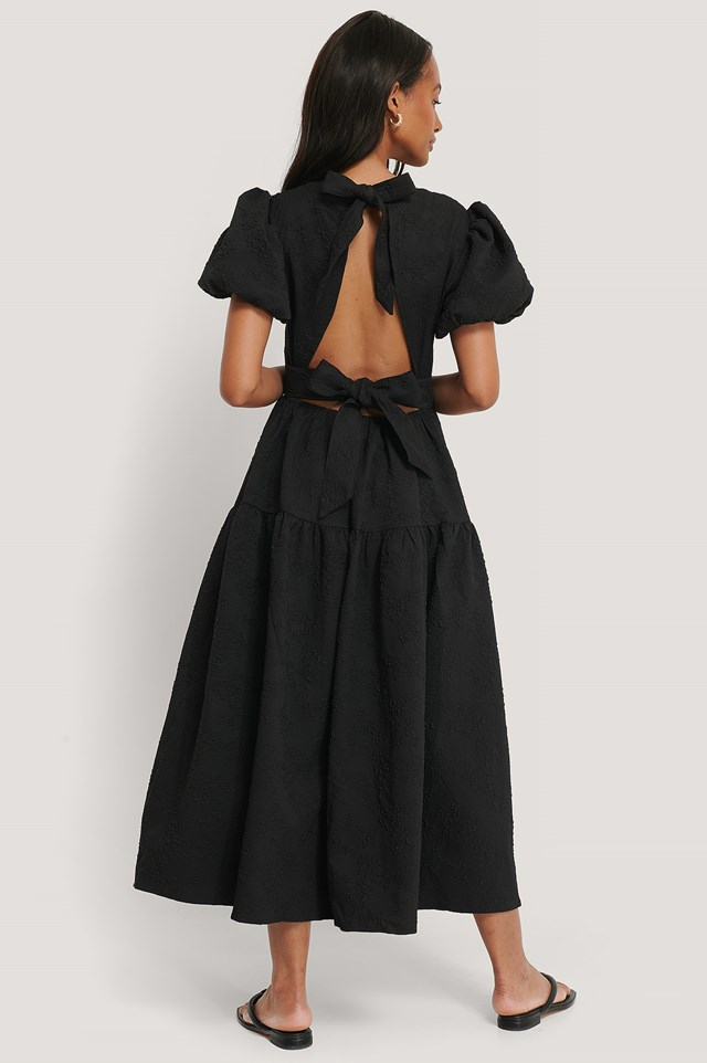 Tie Back Flower Structured Dress Black