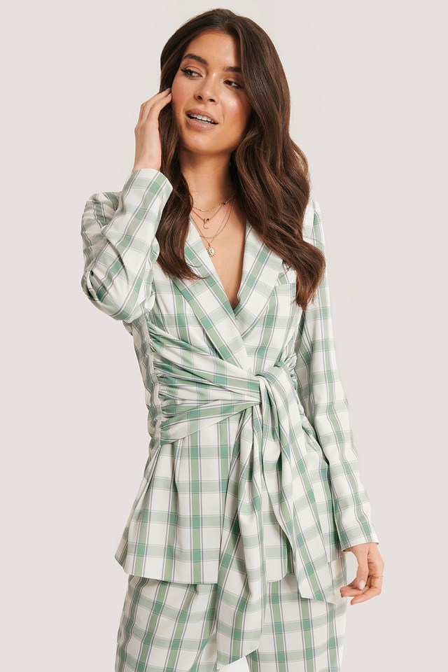 Tied Front Blazer Checked