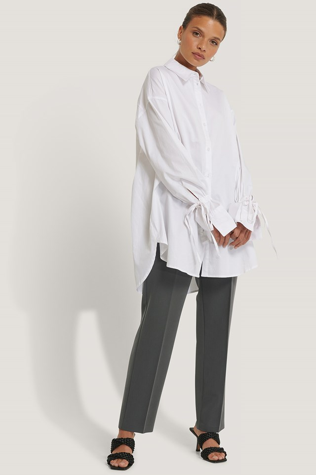White Tied Sleeve Shirt