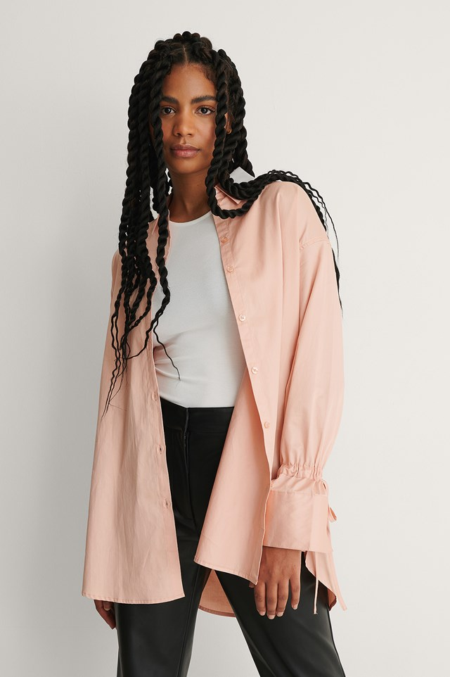 Pink Tied Sleeve Shirt