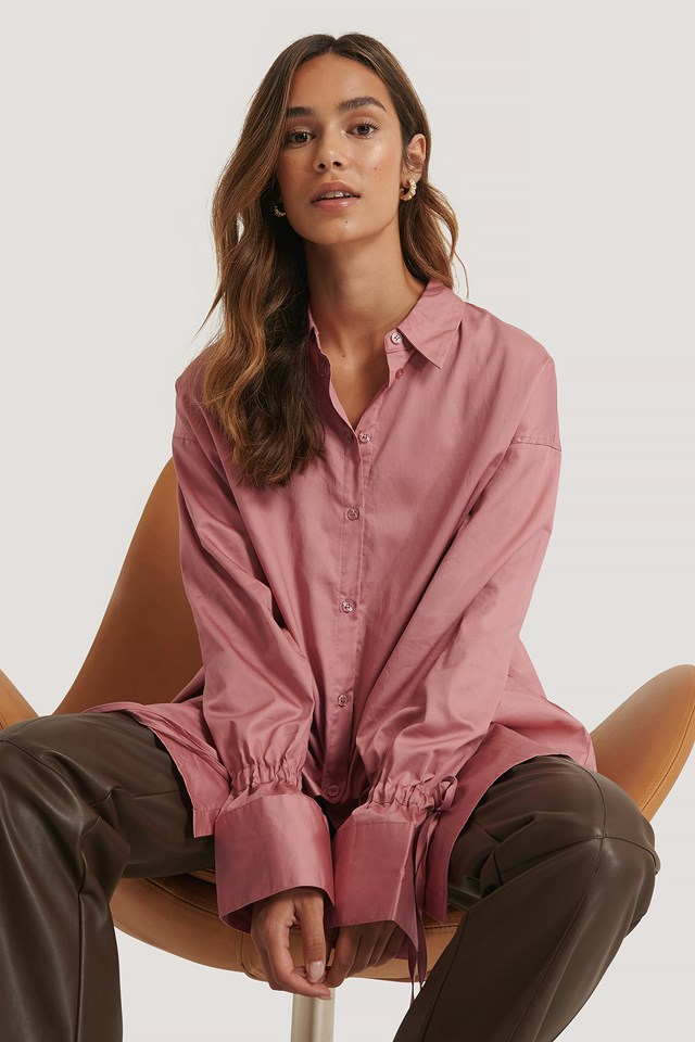 Recycled Tied Sleeve Shirt Dusty Pink