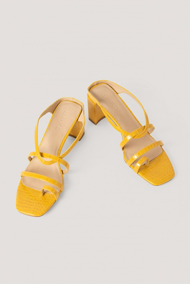 Toe Ring Strappy Block Heels Yellow
