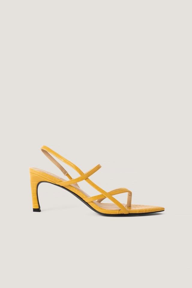 Toe Strap Pointy Heel Yellow