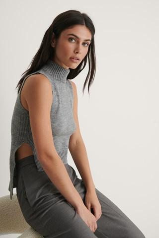 Gray Turtleneck Knit Top