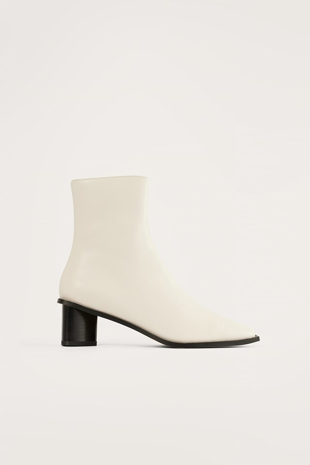 White Triangle Heel Boots