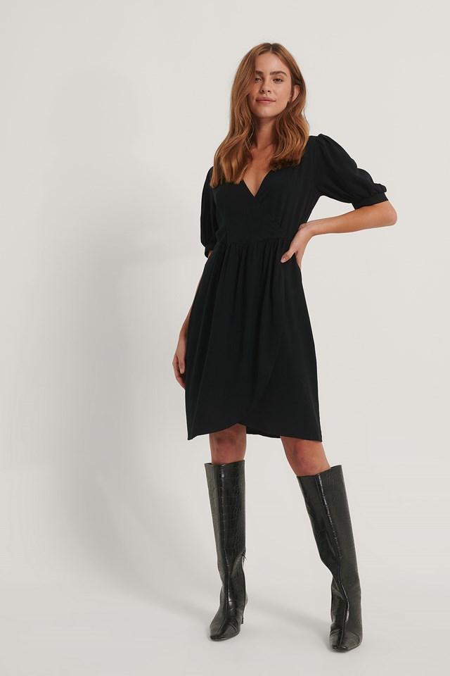 Tulip Gathered Sleeve Dress Black