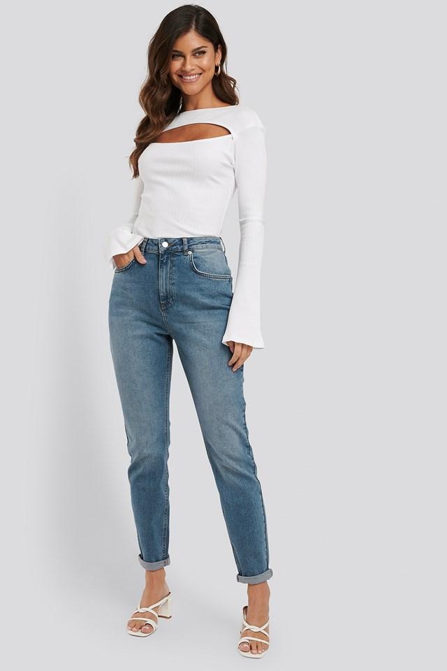 Turn Up Hem Mom Jeans Mid Blue Wash