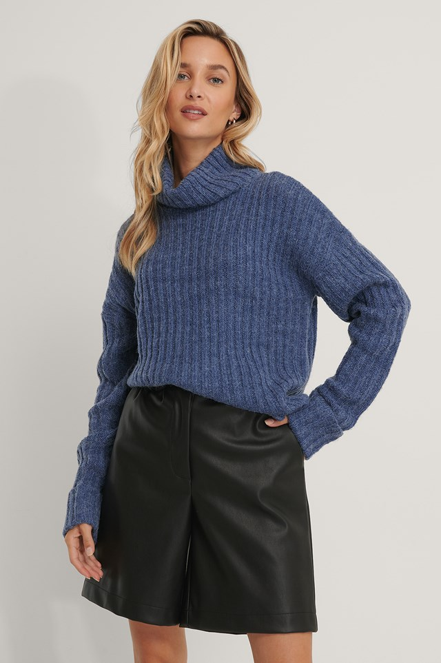 Turtleneck Ribbed Knitted Sweater Blue