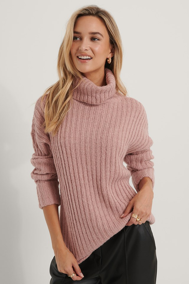 Turtleneck Ribbed Knitted Sweater Dusty Pink