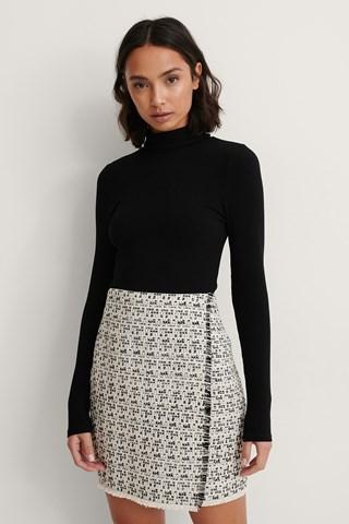 Black/White Raw Edge Tweed Skirt