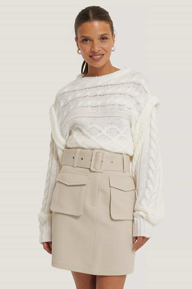 Twill Pocket Skirt Sand