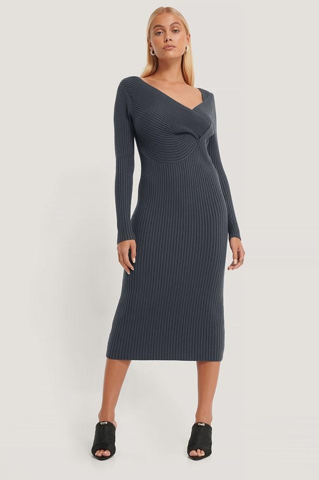 Twisted Front Dress Dark Grey